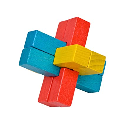 Adeeing 6 Channel Colorful Beech Luban Lock Adult Student Assembly Puzzle Toy