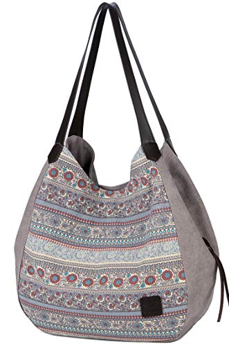 ArcEnCiel Women's Cotton Canvas Handbag Shoulder Bags Totes Purses (Gray)