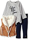 Calvin Klein Baby Girls' 3 Pc Vest Set, Chesnut, 18M