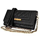 VanGoddy Puru Onyx Black Crossbody Cell Phone Wallet Clutch Suitable for Up To 6.4inch ZTE Blade / Nubia / ZMax / Axon / Prestige / Jasper / Majesty / Maven