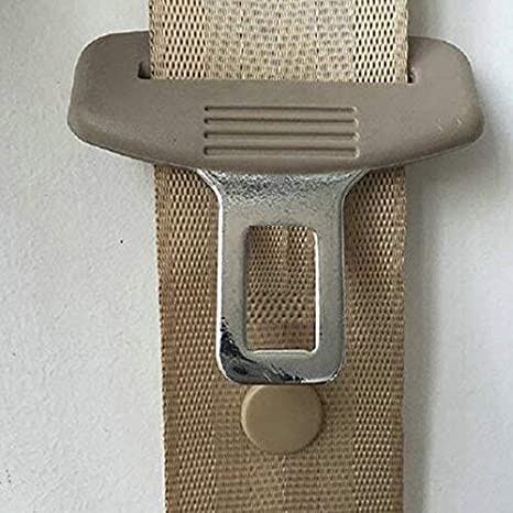 Beige As Seen on TV Seat Belt Stop Button Buttons Prevent Seatbelt Buckle from Sliding Down The Belt Set of 4 Plastic Seat-Belt Stopper Clips Snap-On System No Welding Required Beige