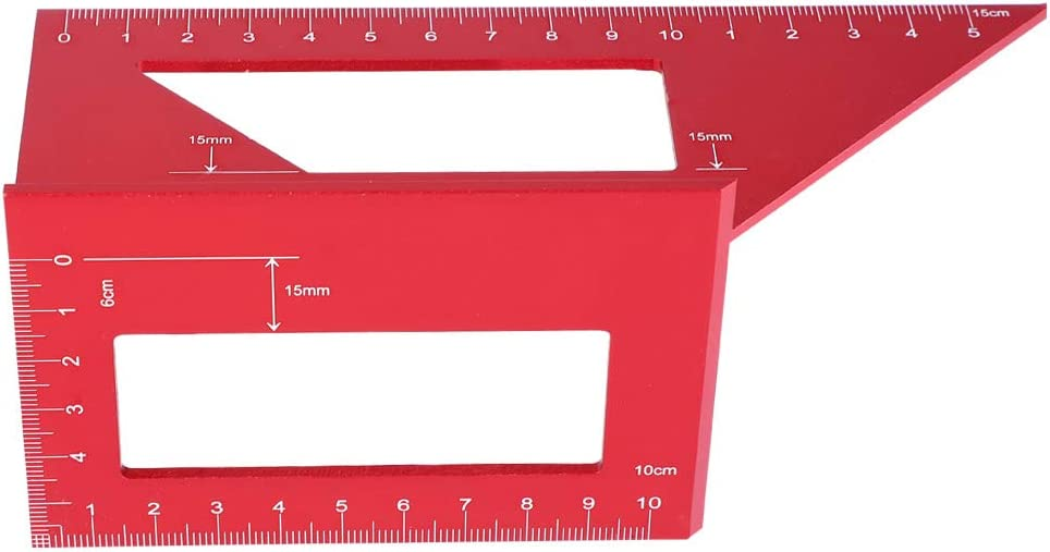 Easy to Read Practical 45//90 Degree Angle Gauge Red Colour for Carpenter Gauge Woodworking Tool Woodworker Hardware Carpentry Equipment JULYKAI Square Angle Ruler