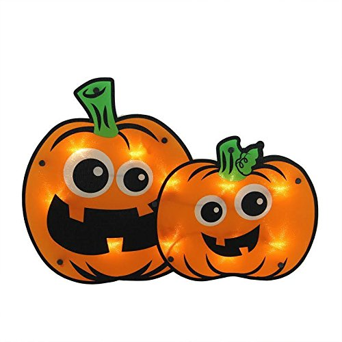 HALLOWEEN LIGHTED PUMPKIN WINDOW DECORATION