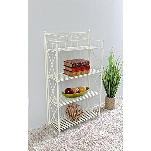 Pemberly Row 25.5'' 4 Tier Iron Bakers Rack in White
