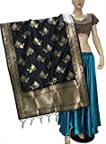 Indian Bridal Wedding Pakistani Banarasi Women Woven Cotton Silk Veil Dupatta Stole Chunni Shawl Scarf (GG Black)