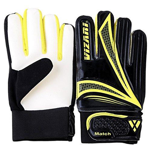 (Vizari Junior Goalkeeper Glove | Soccer Gloves for Kids | Youth Soccer Goalie Gloves | Black/Yellow 8)