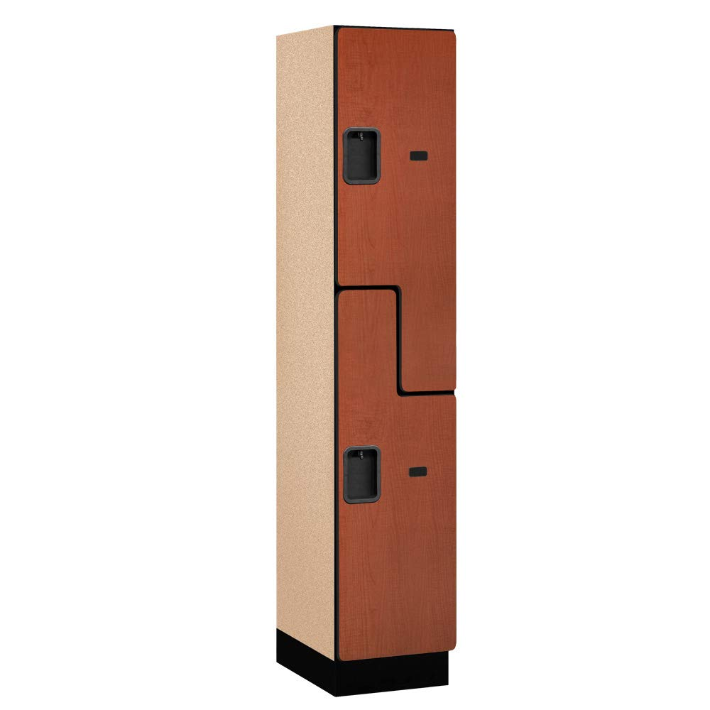 Salsbury Industries 2-Tier S-Style Extra Wide Designer Wood Locker with One Wide Storage Unit, 6-Feet High by 18-Inch Deep, Cherry by Salsbury Industries