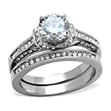 2.75 Carats Classic Style Stainless Steel Round Cut CZ Bridal Wedding Rings Set