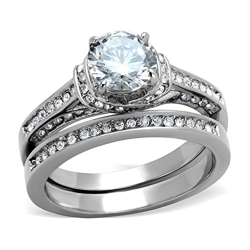 2.75 Carats Classic Style Stainless Steel Round Cut CZ Bridal Wedding Rings Set (5) by Bellux Style