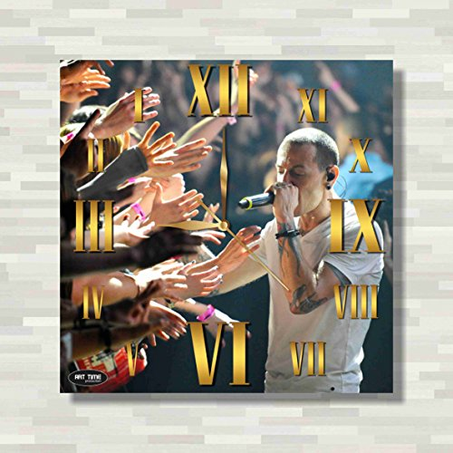 Clock Bennington (linkin park,Chester Bennington 11.4'' Handmade REVERSE Wall Clock - Get unique décor for home or office – Best gift ideas for kids, friends, parents and your soul mates)