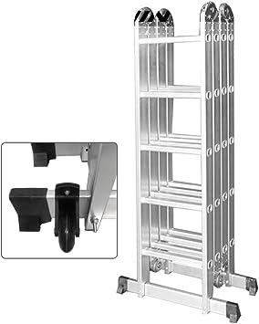 SAILUN 6 en 1 Escalera de tendido Escalera de 340 cm Escalera multiusos plegable articulada con plataforma 4x3 peldaños Escalera combinada Escalera de arriba Se puede cargar hasta 150 kg: Amazon.es: Bricolaje y herramientas