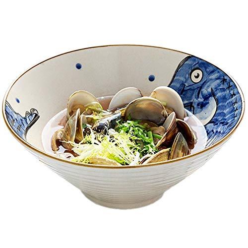HappT Large Soup Ramen Noodle Bowl Fruit Salad Pasta Mixing Serving Bowl Creative Hand Painted Fish Ceramic Tableware Microwave Safe (Color : Blue fish, Size : 9 inches)