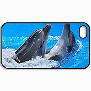 Customized Cellphone Case Back Cover For iPhone 4 4S, Protective Hardshell Case Personalized Dolphin Black