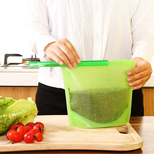 Hommate Reusable Food Bag Silicone Food Preservation Bag Airtight Seal Food Storage Versatile Cooking Bag Kitchen Cooking Utensil (4pcs)