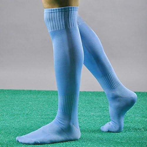 Sky Blue Indexp Men Elastic Solid Soccer Baseball Hockey Stocking Over Knee Thigh High Socks