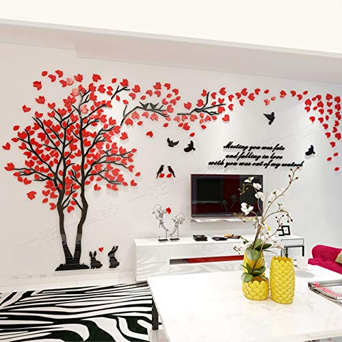 (Unitendo Acrylic 3D Wall Stickers Wall Decal Easy to Install &Apply DIY Decor Sticker Home Art Decor. Red-Left.)