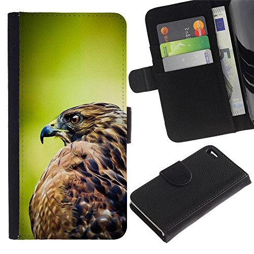 LASTONE PHONE CASE / Luxe Cuir Portefeuille Housse Fente pour Carte Coque Flip Étui de Protection pour Apple Iphone 4 / 4S / hawk bird green focus blurry summer