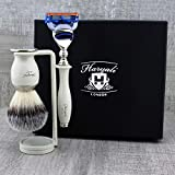 Elegant 3Pcs Shaving Set: Men's Shaving Essentials > Eco Friendly Synthetic Brush, Gillette Fusion & Dual Stand