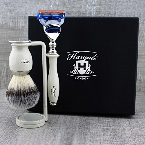 Elegant 3Pcs Shaving Set: Men's Shaving Essentials > Eco Friendly Synthetic Brush, Gillette Fusion & Dual Stand by Haryali London