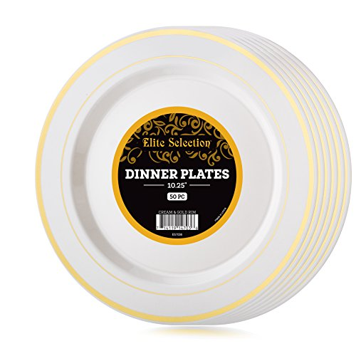 Elite Selection Pack of 50 Dinner Disposable Plastic Party Plates Ivory Cream Color With Gold Rim 10.25-Inch