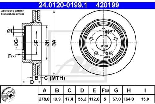 2x ATE BREMSSCHEIBEN /Ø278 mm SET HINTEN