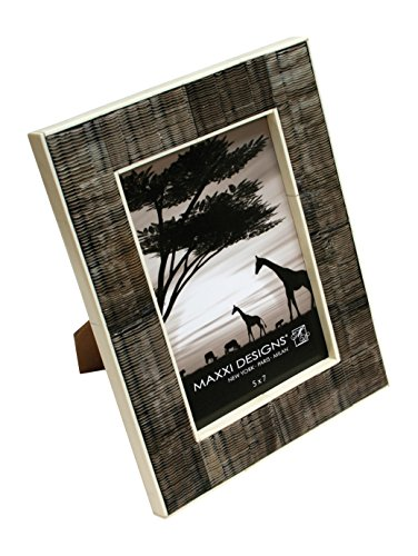 Maxxi Designs Safari Chiseled Horn & White Bone Photo Frame with Easel Back, 8