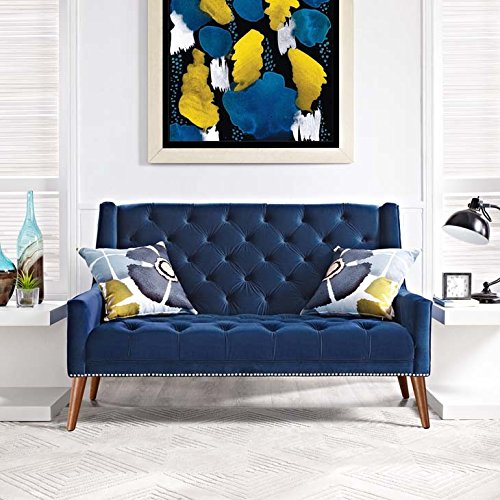 Modway Peruse Velvet Loveseat in Navy