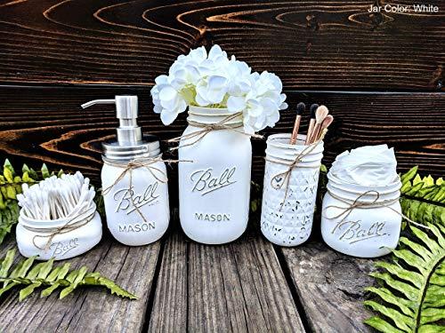 Painted Mason Jars. 5 Piece Mason Jar Bathroom Set With Soap Dispenser -