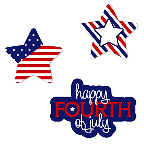 - 4th of July - DIY Shaped Party Cut-Outs for Independence Day - 24 Count