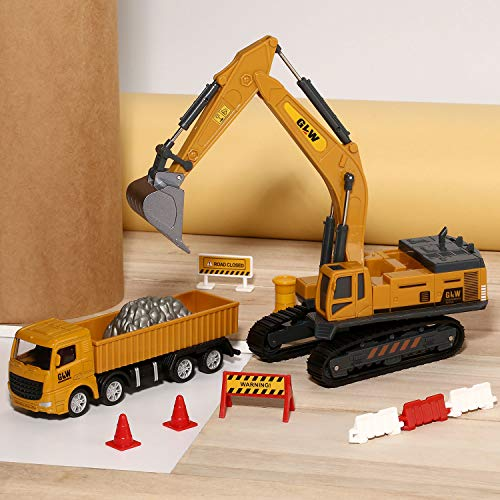 CUTE STONE Alloy Construction Vehicles Truck Toy Set, Kids Engineering Truck Playset, Crane, Excavator, Cement, Fuel Truck, Wheel Loader with 3 Interchangeable Parts,Gift for Toddlers Boys Children