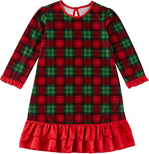 Candlesticks Toddler Girls Plaid Ruffle Nightgown 4T