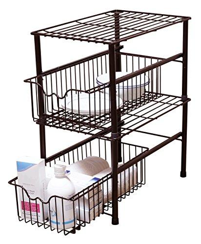 Sink Organizer Shelf Under Kitchen Cabinet Storage Sliding: DecoBros Stackable Under Sink Cabinet Sliding Basket
