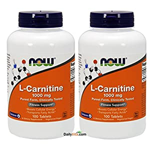 NOW Foods L- Carnitine Tartrate 1000mg, 100 Tablets (Pack of 2)