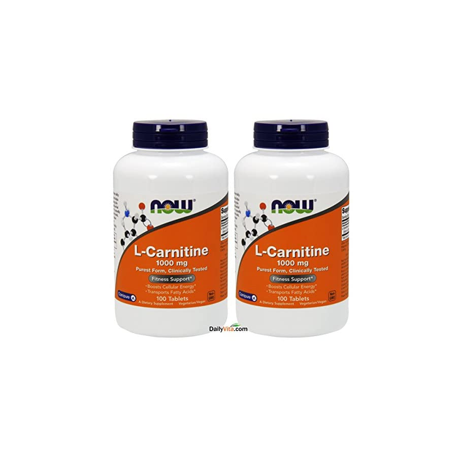 NOW Foods L Carnitine Tartrate 1000mg, 100 Tablets (Pack of 2)