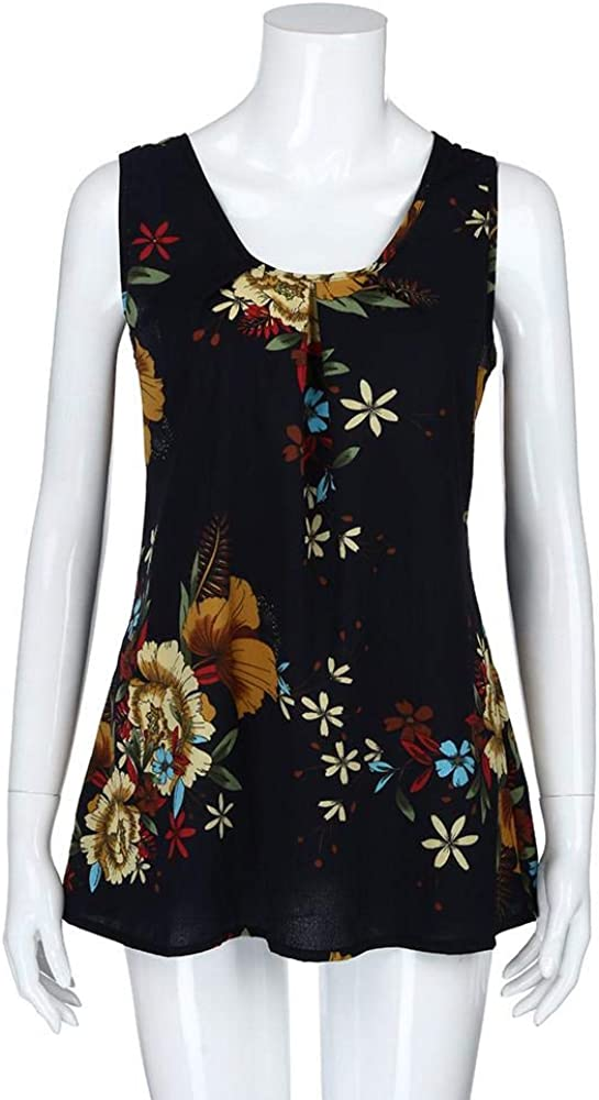 STORTO Womens Cute Floral Print Loose Casual Flowy Tunic Tank Top