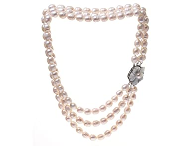 TreasureBay Nutaral White Freshwater Cultured Pearl Necklace Multi strands - Presented in a beautiful jewellery gift box ohqX0JdXuo