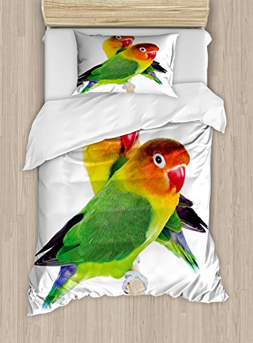 Lunarable Bird Duvet Cover Set Twin Size, Pair of Lovebirds Agapornis Fischeri Colorful Couple Domestic Family Funny and Cute, Decorative 2 Piece Bedding Set with 1 Pillow Sham, Multicolor (State Headboard Twin)