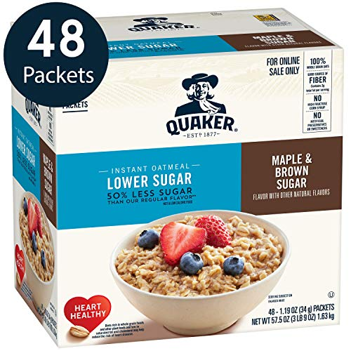Quaker Instant Oatmeal, Lower Sugar Maple & Brown Sugar, Individual Packets, 48 Count