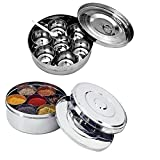 King International Stainless Steel Spice Box Set And Stainless Steel Spice Box With Double Lid