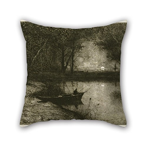 (20 X 20 Inches / 50 By 50 Cm Oil Painting Adolphe Appian - Fisherman In A Rowboat, At The Edge Of A River Pillow Covers,twice Sides Is Fit For Son,her,bf,teens Girls,coffee House,valentine)