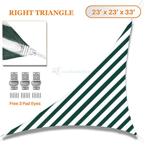 32' White Umbrella - Sunshades Depot 23'x23'x32' Green & White Strips Sun Shade Sail Right Triangle Permeable Canopy Pre-School Play Ground Park Rest Area Hotel Restaurants College Customize Commercial