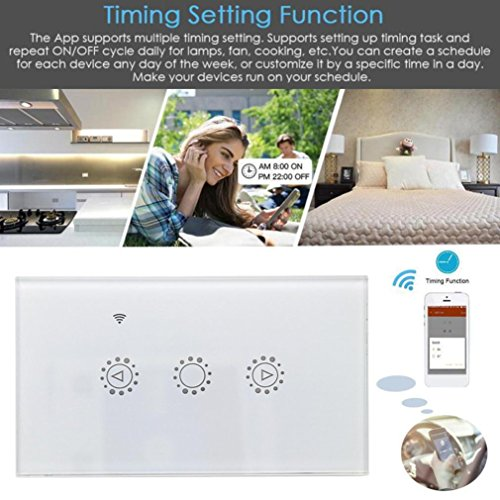 Switch Capacitive Hand Switch Wireless Remote Control Glass 3-gang Smart Home AU/US Crystal Waterproof Glass Touch Screen Light Switch&Mini Remote (White) by Liu Nian (Image #6)