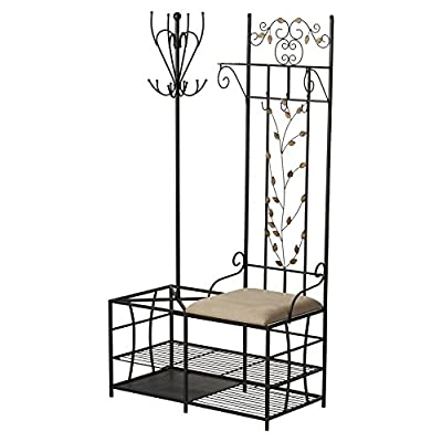 Andover Mills Freestanding Forrest Metal Hall Tree Traditional Style with 3 Hooks and 3 Shelves Dimensions 71'' H x 36'' W x 19'' D -  - hall-trees, entryway-furniture-decor, entryway-laundry-room - 51zcACBHL1L. SS400  -