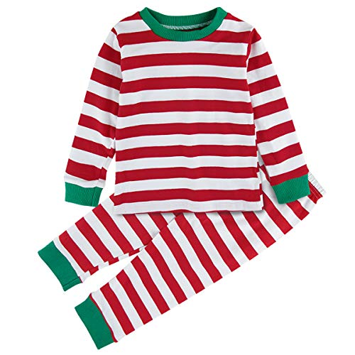 Mombebe Toddler Baby Boys Girls Christmas Pajamas Set Striped Sleepwear (Red, 12-18 Months)