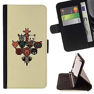BullDog Case - FOR/Sony Xperia m55w Z3 Compact Mini / - / cute zoo animal poster brown beige cute /- Monedero de cuero de la PU Llevar cubierta de la caja con el ID Credit Card Slots Flip funda de cuer