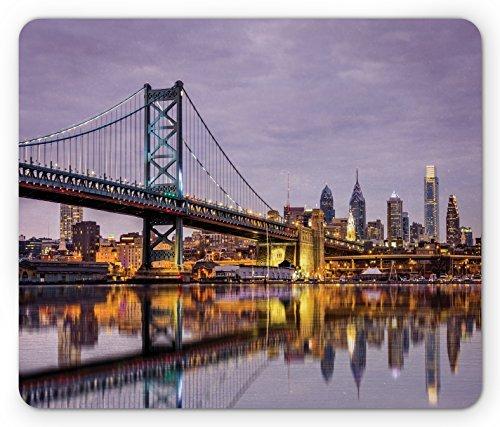 USA Mouse Pad Ben Franklin Bridge and Philadelphia Skyline Setting Sun Reflections on Water, Standard Size Rectangle Non-Slip Rubber Mousepad, Lilac Orange - Texas Orange $25 Optical