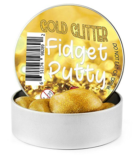 Gold Glitter Putty Fidget Putty (3-Ounce Large Tin); Silly & Fun Therapeutic Play Putty in Tin