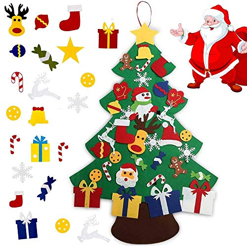 Felt Christmas Tree for Kids 33pcs Felt Ornaments Christmas Tree Décor, Xmas Stocking Gifts for Kids New Year Christmas Decorations for Window Door Wall Home Hanging Decorations DIY Party Supplies (Christmas Decorating Tree Small)