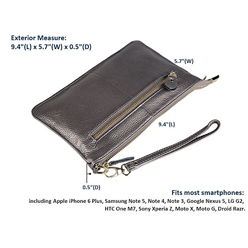 Strap feel A Purse wrist Wallet Crossbody Leather With Up Soft Women's Smartphone Strap Wristlet Genuine Befen black To 5 Silver for Clutch 5 Inch wEpgqv6O
