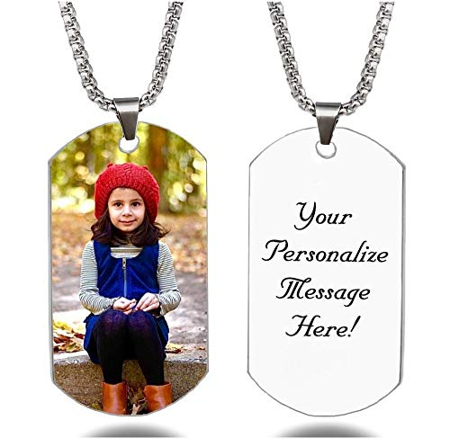 Interway Trading Personalized Custom Full Color Photo and Message Necklace Pendant Dog tag (Full Color Photo Style)